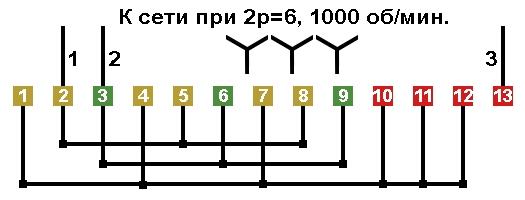Трехскоростной электродвигатель схема подключения 160
