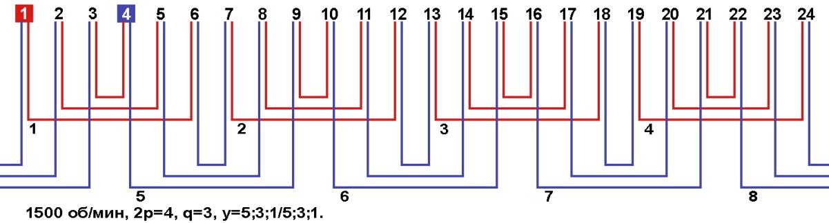 Схемы соединение обмоток однофазных электродвигателей